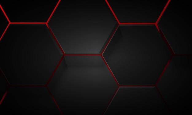 빨간색 배경에 검은색 기하학적 육각형 패턴입니다. 배경 화면을 위한 미래 지향적인 디자인.