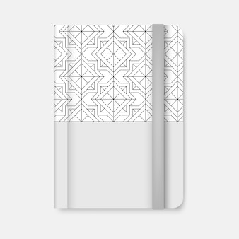 Black geometric pattern cover of a white diary vector