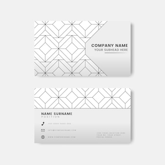 Black geometric pattern on white business card vector