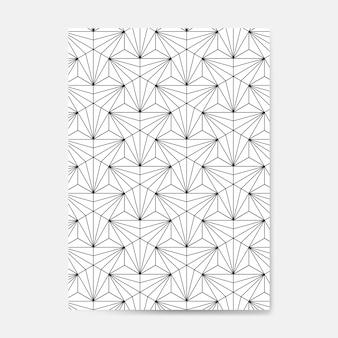 Black geometric seamless pattern on a white card