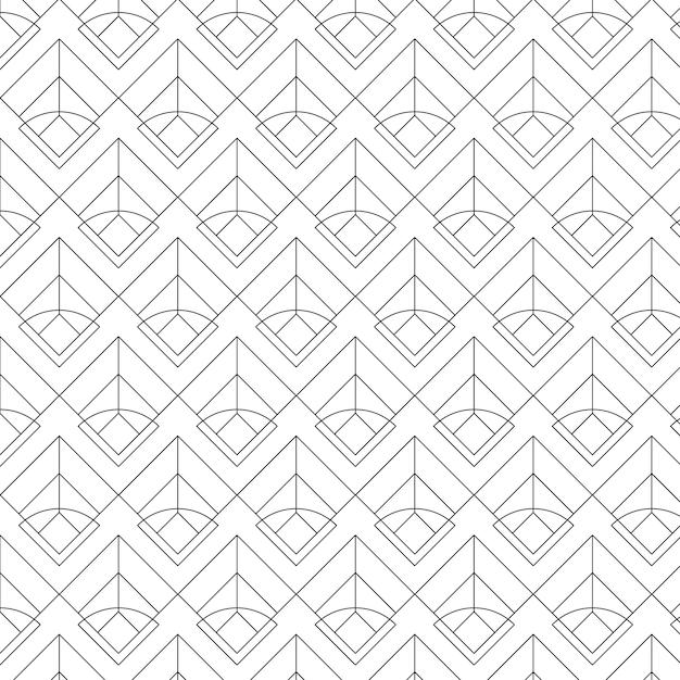 Black geometric seamless patterns set on a white background