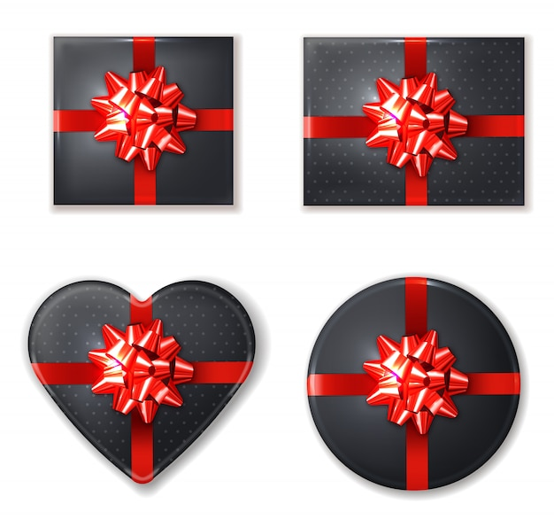 Black gift box set with red bow