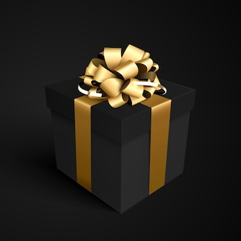 Black gift box with gold ribbon bow for black friday sale design.