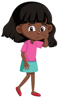 漫画のキャラクターを泣いている黒人少女