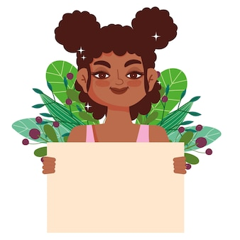 空白のバナーを持つ黒人少女巻き毛アフロ女性