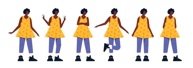Black girl in different poses flat design
