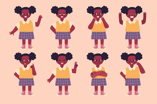 Black girl in different poses set