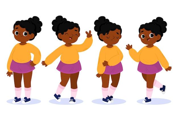 さまざまなポーズの黒人少女セット