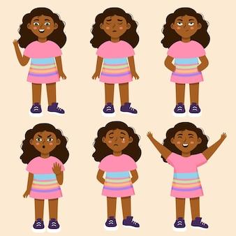 さまざまなポーズの黒人の女の子