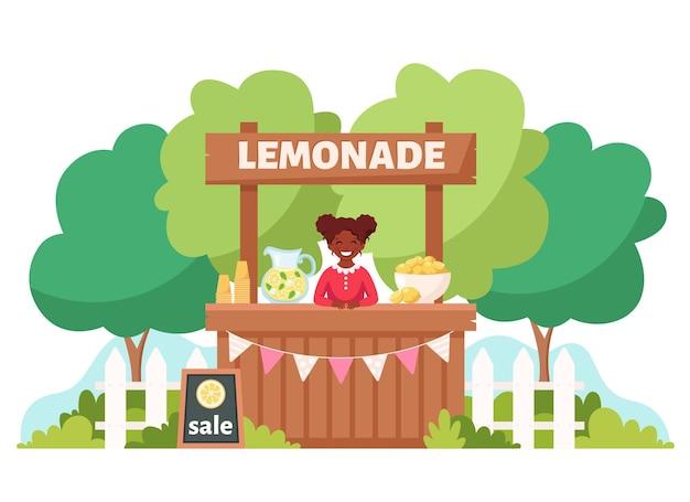 레모네이드 스탠드에서 차가운 레모네이드를 판매하는 흑인 소녀 여름 차가운 음료