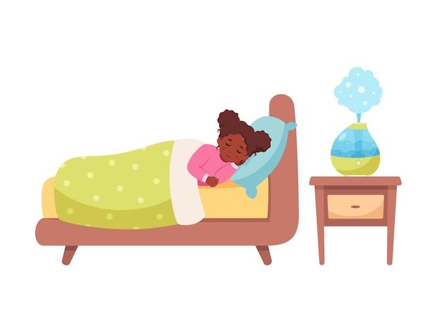 部屋の健康的な睡眠で空気加湿器で眠っている黒人の女の子