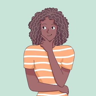 黒人少女思考キャラクターイラスト