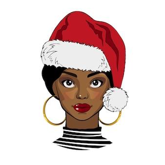 Черная девушка с рождеством санта шляпа векторные иллюстрации