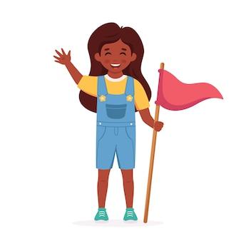 깃발을 든 흑인 소녀 걸스카우트 캠핑 여름 키즈 캠프
