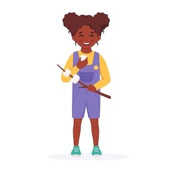마시멜로를 가진 흑인 소녀 걸스카우트 캠핑 여름 키즈 캠프