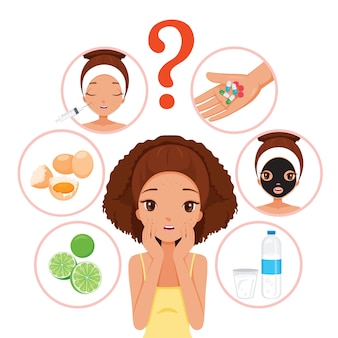 Black girl with pimples on her face and skin face icons set