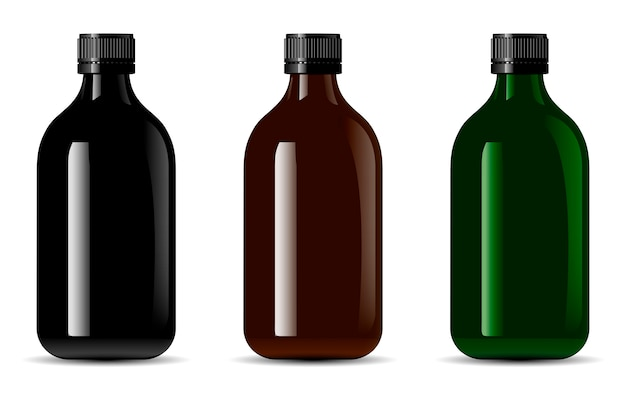 Black glass bottle. 3d glossy container package