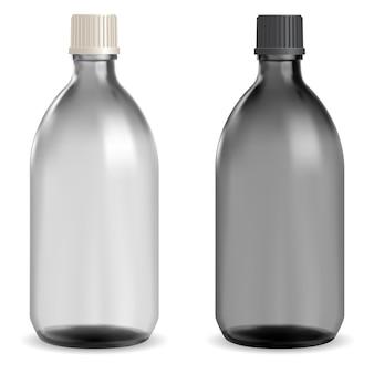 黒いガラスの医療ボトル。キャップ付きの薬用シロップバイアル。