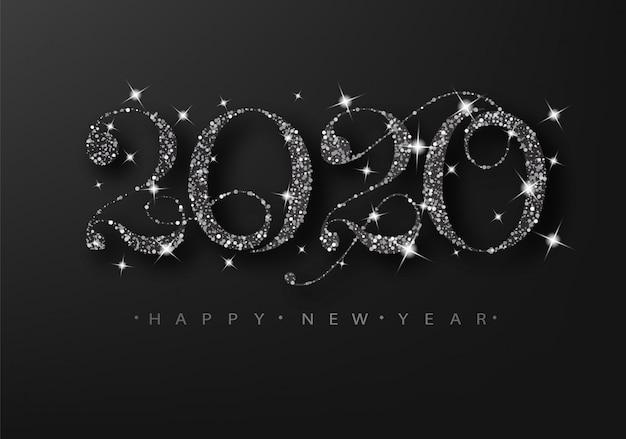 Black glitter 2020 on a black background. happy new year grating card.