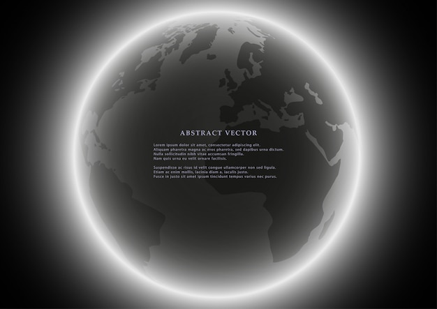 Black globe earth background.
