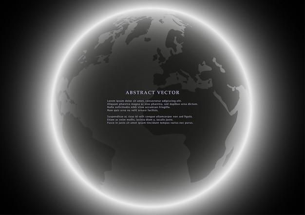 Black globe earth background.