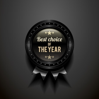 Black  glossy badge with choice of the year.