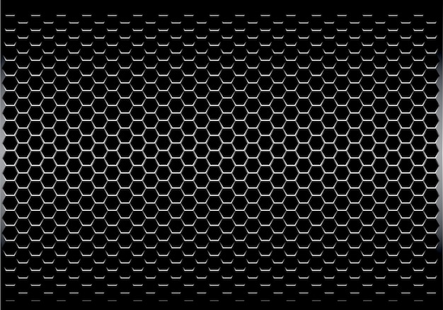 黒い光沢のある六角形のメッシュパターンの背景。