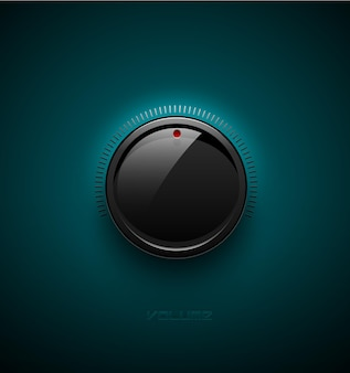 반사 및 그림자가 있는 볼륨 제어를 위한 검은색 광택 인터페이스 버튼. 벡터 일러스트 레이 션. 사운드 아이콘, 청록색 플라스틱 배경에 규모가 있는 음악 손잡이.