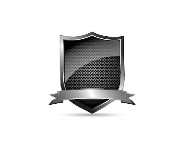 Black glossy metal steel blank shield crest with ribbon emblem logo