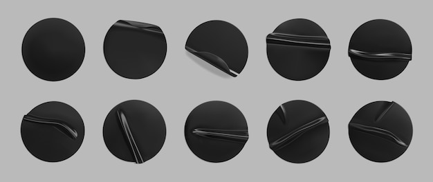 Black glued round crumpled sticker set. adhesive clear black paper or plastic stickers label with glued, wrinkled effect