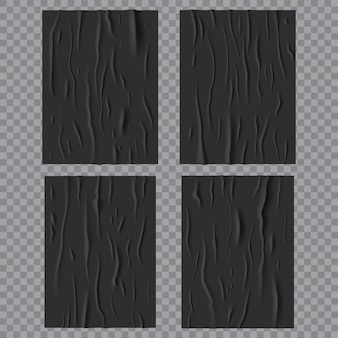 Black glued wet posters, wrinkled and crumpled paper texture. vector creased rectangular sheets with corrugation isolated on transparent background, blank mockup for ads design. realistic 3d set