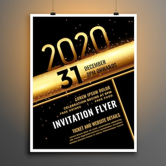 Black and gold 2020 new year flyer template