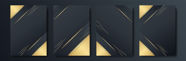 Black and gold abstract background set of four. luxury cover templates. vector cover design for placards, banners, flyers, presentations and cards