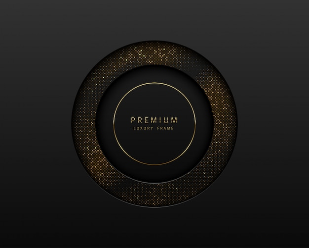Black and gold abstract round luxury frame. sparkling sequins on black background with golden ring.  label