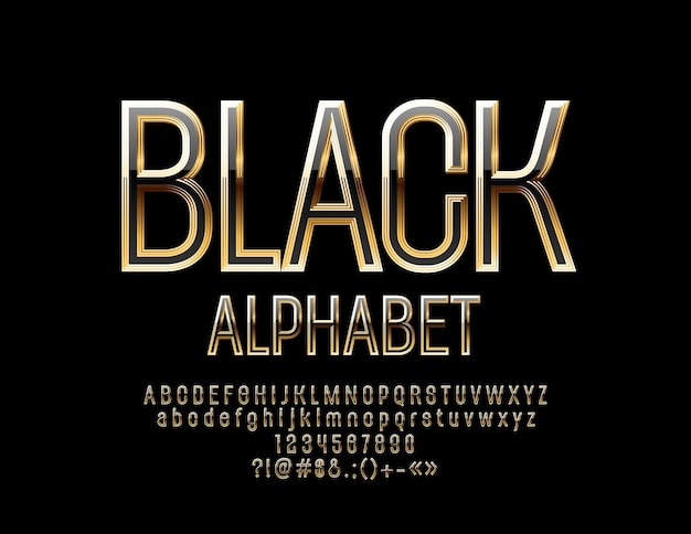 Black and gold alphabet letters, numbers and symbols. shiny chic font