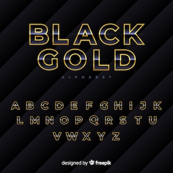 Black and gold alphabet