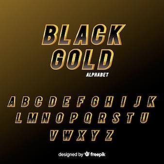 Alfabeto nero e oro