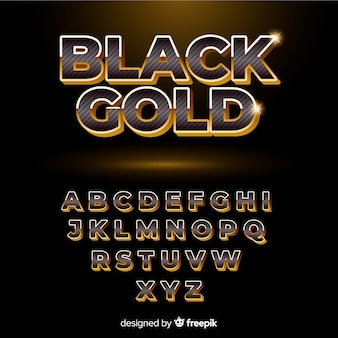 Black and gold alphabet