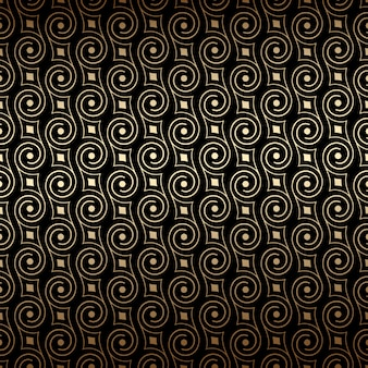 Black and gold art deco seamless pattern with swirls.