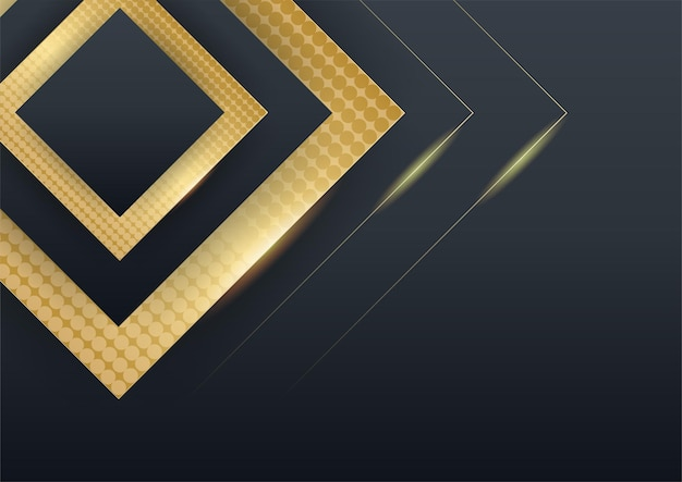 Black gold background overlap dimension abstract geometric modern. vector illustration