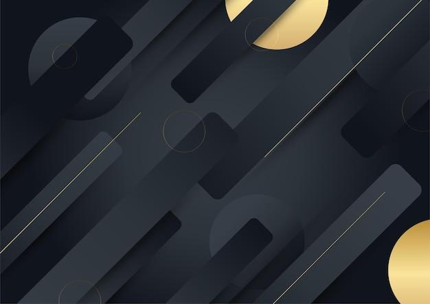 ブラックゴールドの背景。ベクトル高級技術の背景。金の縞模様の黒い紙素材の層のスタック。矢印形のプレミアム壁紙