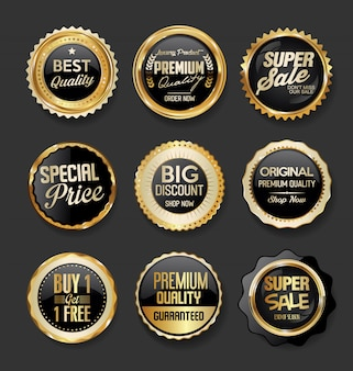 Black and gold badges illustration super sale collection