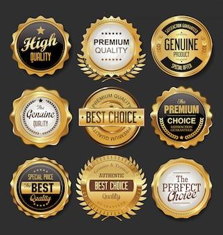 Black and gold badges illustration super sale collection