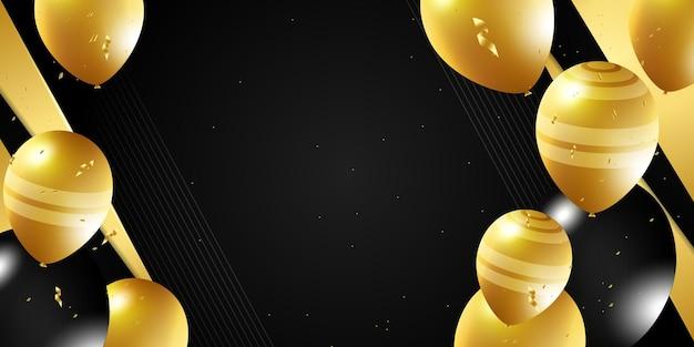 ブラックゴールド風船ベクトルイラストお祝いの背景テンプレート金でお祝いバナー...