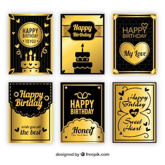 Black and gold birthday cards collection