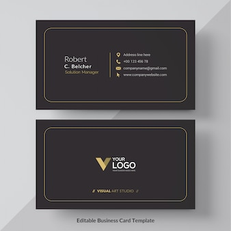 Black and gold business card free vector