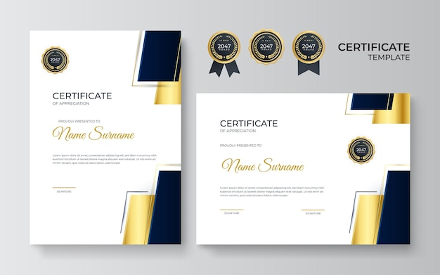 Black and gold certificate of achievement template with gold badge and border. certificate template with golden decoration element. design diploma graduation, award. vector illustration