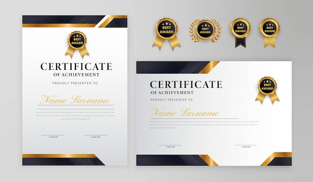 Black and gold certificate border badges for business and diploma template