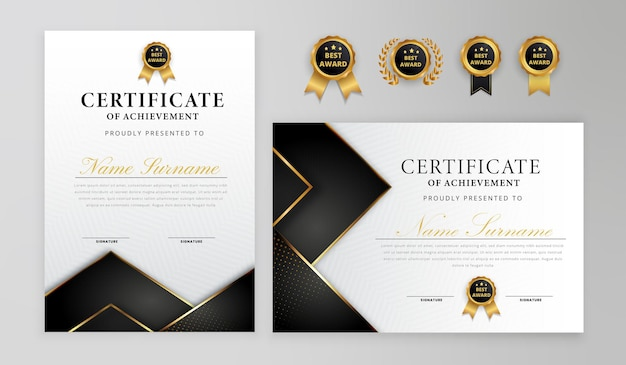 Black and gold certificate border badges