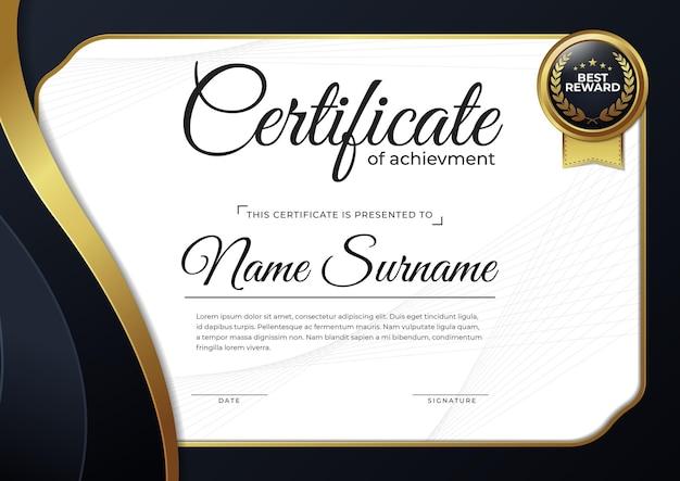 Modello di progettazione del certificato nero e oro